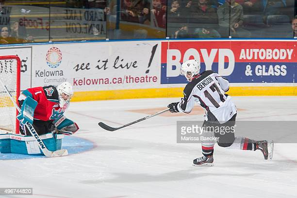 Tyler Benson of Vancouver Giants takes a shot on Jackson Whistle of Kelowna Rockets during the shootout on November 11 2015 at Prospera Place in...