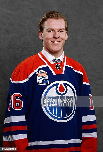 Tyler Benson poses for a portrait after being selected 32nd overall by the Edmonton Oilers during the 2016 NHL Draft at First Niagara Center on June...