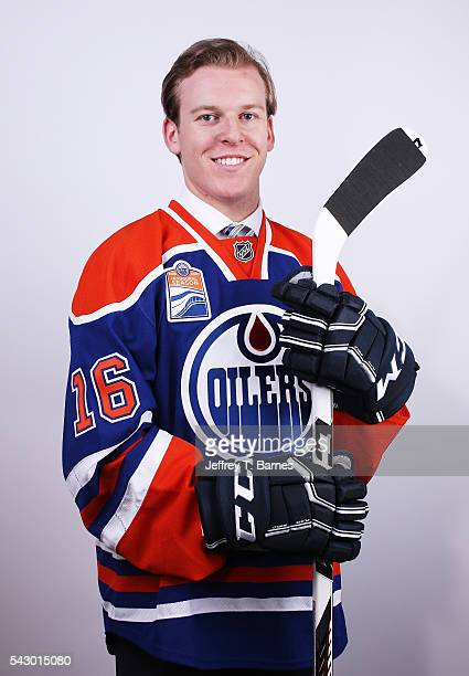 Tyler Benson poses for a portrait after being selected 32nd overall by the Edmonton Oilers during the 2016 NHL Draft on June 25 2016 in Buffalo New...