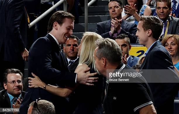 Tyler Benson reacts after being selected 32nd overall by the Edmonton Oilers during the 2016 NHL Draft on June 25 2016 in Buffalo New York