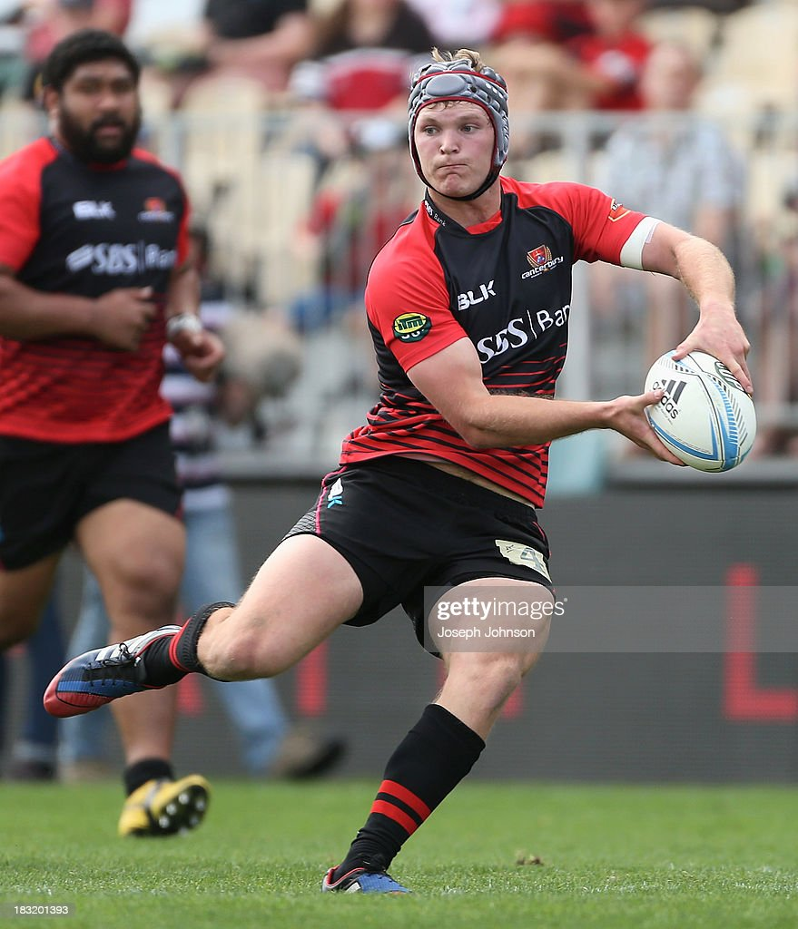 Tyler Bleyendaal of Canterbury runs with the ball during the round eight ITM Cup match between Cantebury and Counties Manukau at AMI Stadium on October 6, 2013 in Christchurch, New Zealand.