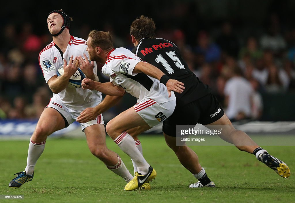 Tyler Bleyendaal of Crusaders holds onto a high ball during the Super Rugby match between The Sharks and Crusaders from Kings Park on April 05, 2013 in Durban, South Africa.