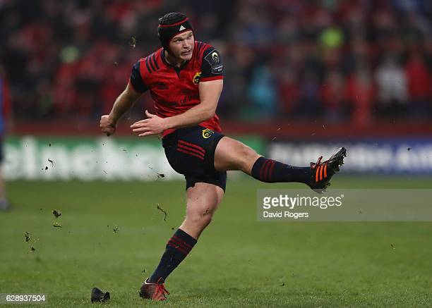 Tyler Bleyendaal of Munster kicks a penalty during the European Champions Cup match between Munster and Leicester Tigers at Thomond Park on December...