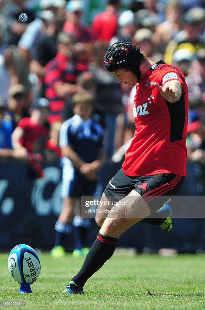 Tyler Blyendaal of the Crusaders kick a conversion during the 2013 Super Rugby pre-season friendly match between the Crusaders and the Hurricanes at Alpine Stadium on February 2, 2013 in Timaru, New Zealand.