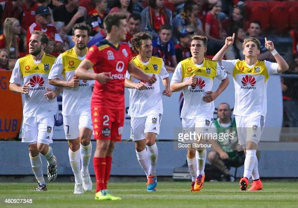 Tyler Boyd of the Phoenix celebrates with his teammates after scoring a goal during the round 14 ALeague match between Adelaide United and Wellington...