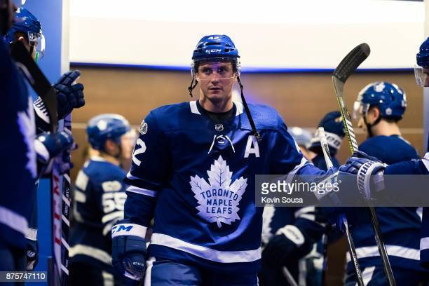 Tyler Bozak of the Toronto Maple Leafs leave the locker room before the third period against the New Jersey Devils at the Air Canada Centre on...