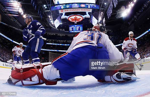 Tyler Bozak of the Toronto Maple Leafs scores on Carey Price of the Montreal Canadiens during the first period at the Air Canada Centre on January 7...