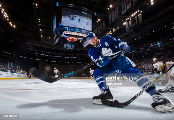 Tyler Bozak of the Toronto Maple Leafs skates against the Boston Bruins during the third period at the Air Canada Centre on March 20 2017 in Toronto...