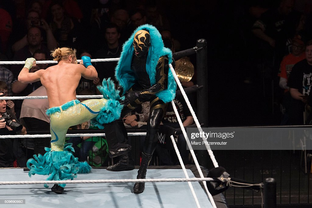 Tyler Breeze competes in the ring against Goldust at the Road to WrestleMania at the Lanxess Arena on February 11, 2016 in Cologne, Germany.