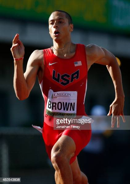 Tyler Brown of the US runs in a preliminary heat of the men's 400m during day one of the IAAF World Junior Championships at Hayward Field on July 22...