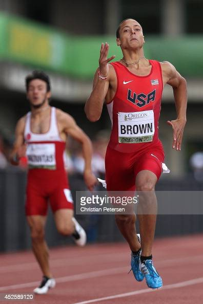 Tyler Brown of USA competes in the men's 400m semifinal during day two of the IAAF World Junior Championships at Hayward Field on July 23 2014 in...