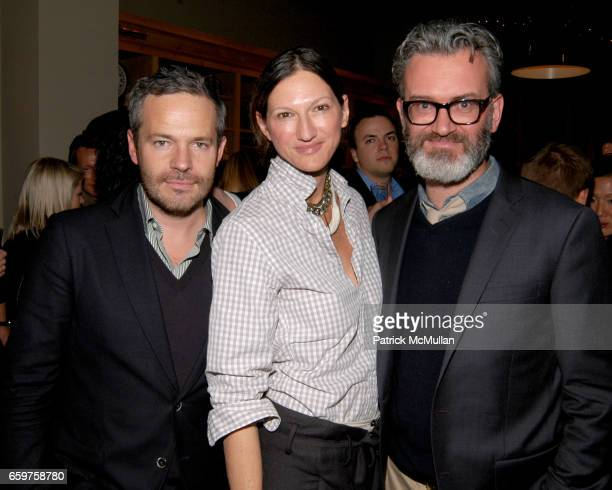 Tyler Brule Jenna Lyons and Frank Muytjens attend The MONOCLE Holiday Party at the J CREW Men's Shop at The J Crew Men's Shop on November 17 2009 in...