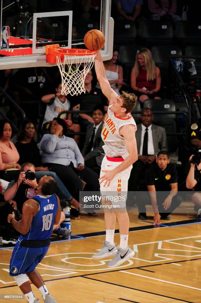 Tyler Cavanaugh #34 of the Atlanta Hawks goes to the basket against the Dallas Mavericks on October 12, 2017 at McCamish Pavilion in Atlanta, Georgia.