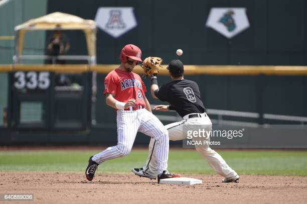 Tyler Chadwick of Coastal Carolina University receives the ball at second base against the University of Arizona during Game 3 of the Division I...