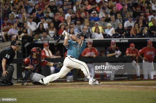 Tyler Chadwick of Coastal Carolina University singles to right field against the University of Arizona during the Division I Men's Baseball...