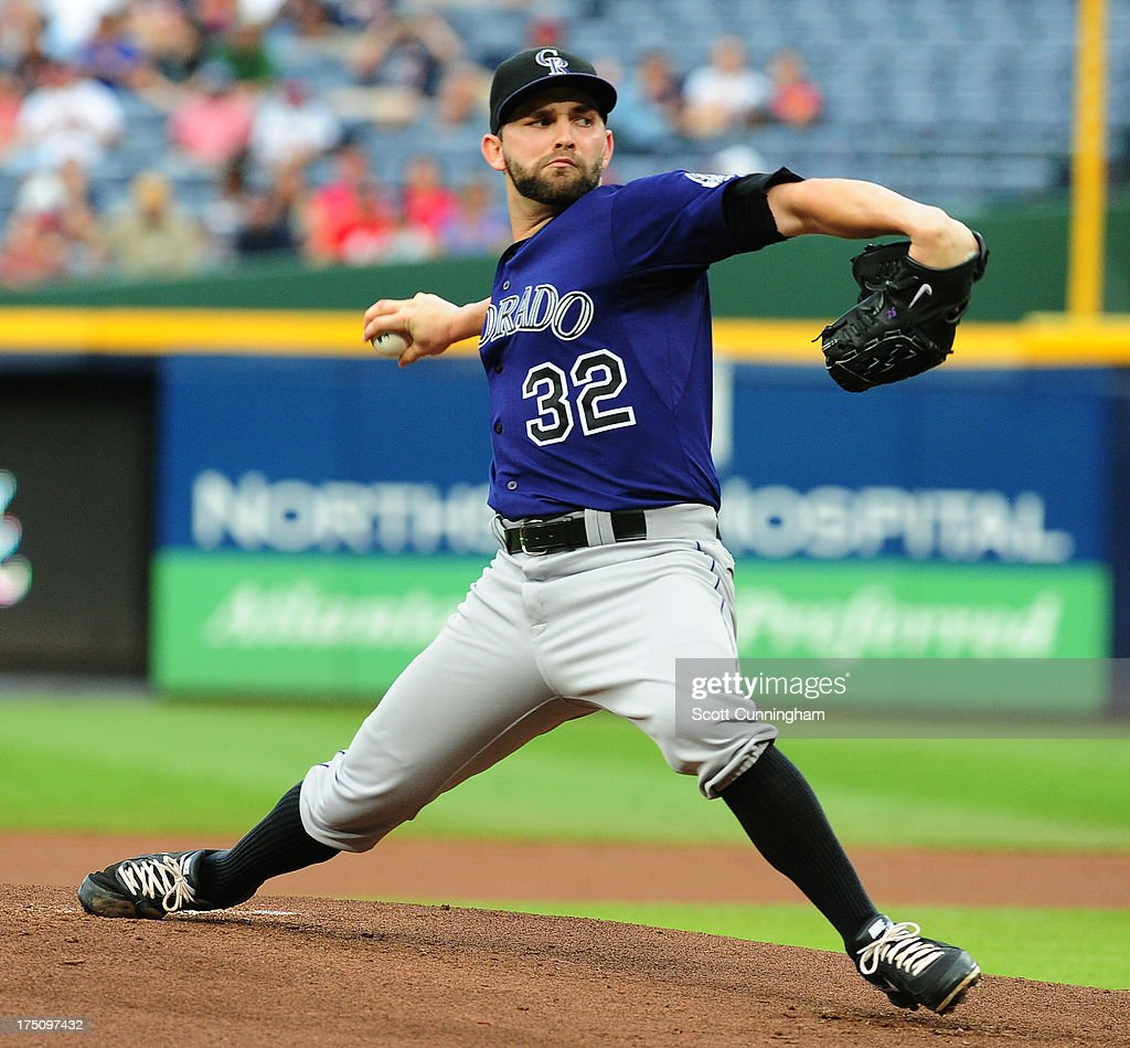 <a gi-track='captionPersonalityLinkClicked' href=/galleries/search?phrase=Tyler+Chatwood&family=editorial&specificpeople=6795489 ng-click='$event.stopPropagation()'>Tyler Chatwood</a> #32 of the Colorado Rockies pitches against the Atlanta Braves at Turner Field on July 31, 2013 in Atlanta, Georgia.