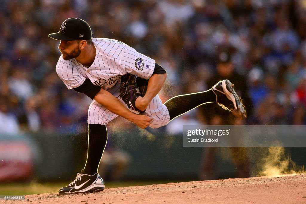 Tyler Chatwood #32 of the Colorado Rockies pitches against the Los Angeles Dodgers in the third inning of a game at Coors Field on May 12, 2017 in Denver, Colorado.