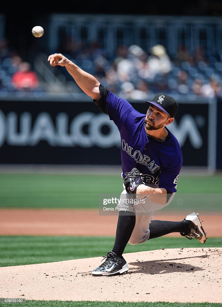 <a gi-track='captionPersonalityLinkClicked' href=/galleries/search?phrase=Tyler+Chatwood&family=editorial&specificpeople=6795489 ng-click='$event.stopPropagation()'>Tyler Chatwood</a> #32 of the Colorado Rockies pitches during the first inning of a baseball game against the San Diego Padres at PETCO Park on May 4, 2016 in San Diego, California.