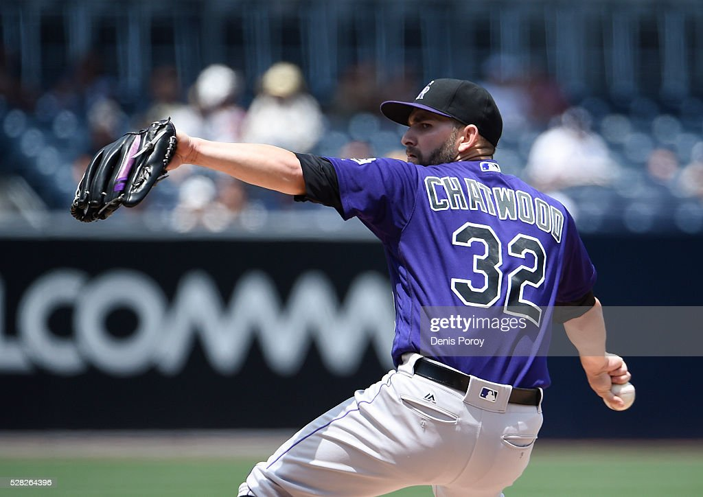 Tyler Chatwood #32 of the Colorado Rockies pitches during the first inning of a baseball game against the San Diego Padres at PETCO Park on May 4, 2016 in San Diego, California.