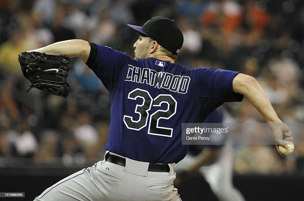 <a gi-track='captionPersonalityLinkClicked' href=/galleries/search?phrase=Tyler+Chatwood&family=editorial&specificpeople=6795489 ng-click='$event.stopPropagation()'>Tyler Chatwood</a> #32 of the Colorado Rockies pitches during the fourth inning of a baseball game against the San Diego Padres at Petco Park on September 14, 2012 in San Diego, California.