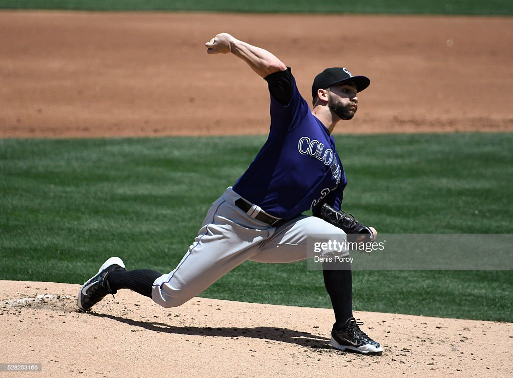 Tyler Chatwood #32 of the Colorado Rockies pitches during the second inning of a baseball game against the San Diego Padres at PETCO Park on May 4, 2016 in San Diego, California.