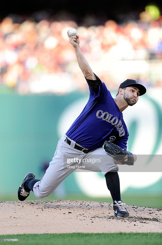 <a gi-track='captionPersonalityLinkClicked' href=/galleries/search?phrase=Tyler+Chatwood&family=editorial&specificpeople=6795489 ng-click='$event.stopPropagation()'>Tyler Chatwood</a> #32 of the Colorado Rockies pitches in the second inning against the Washington Nationals at Nationals Park on June 21, 2013 in Washington, DC.