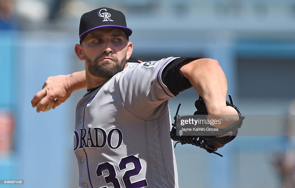 Tyler Chatwood #32 of the Colorado Rockies pitches in the second inning of the game against the Los Angeles Dodgers at Dodger Stadium on September 10, 2017 in Los Angeles, California.