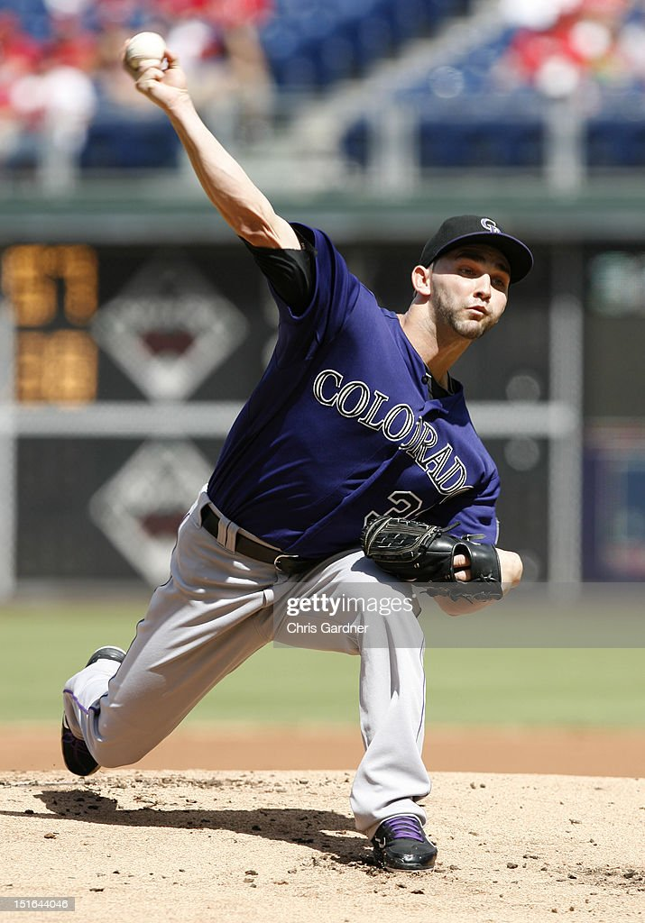 <a gi-track='captionPersonalityLinkClicked' href=/galleries/search?phrase=Tyler+Chatwood&family=editorial&specificpeople=6795489 ng-click='$event.stopPropagation()'>Tyler Chatwood</a> #32 of the Colorado Rockies throws a pitch against the Philadelphia Phillies at Citizens Bank Park on September 9, 2012 in Philadelphia, Pennsylvania.