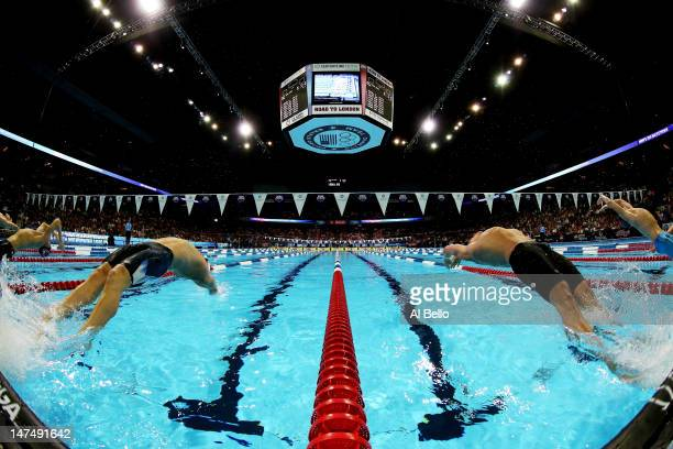 Tyler Clary and Ryan Lochte compete in the championship final of the Men's 200 m Backstroke during Day Six of the 2012 US Olympic Swimming Team...