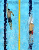 Tyler Clary of the United States and Fenglin Zhang of China compete in the second semifinal heat of the Men's 200m Backstroke on Day 5 of the London...