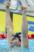 Tyler Clary of the USA celebrates winning the Men's 200m Backstroke Final during day three of the 2014 Pan Pacific Championships at Gold Coast...