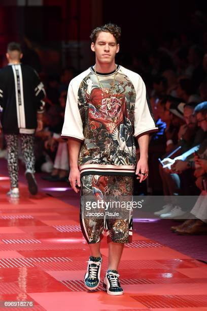 Tyler Clinton walks the runway at the Dolce Gabbana show during Milan Men's Fashion Week Spring/Summer 2018 on June 17 2017 in Milan Italy