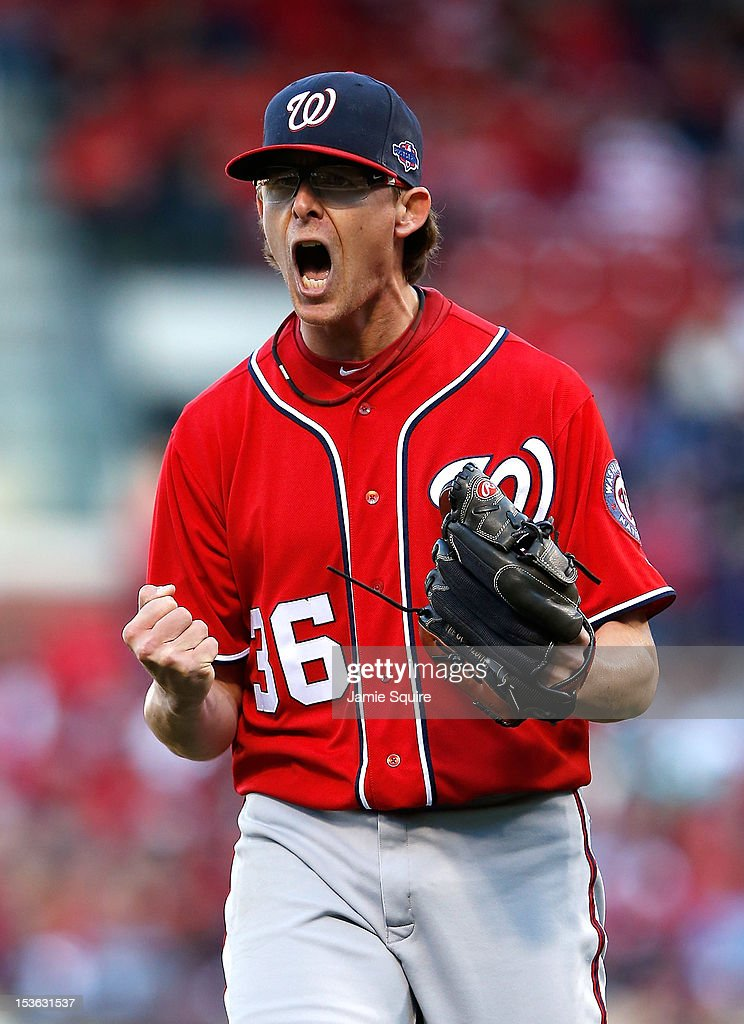 #<a gi-track='captionPersonalityLinkClicked' href=/galleries/search?phrase=Tyler+Clippard&family=editorial&specificpeople=4172556 ng-click='$event.stopPropagation()'>Tyler Clippard</a> 36 of the Washington Nationals reacts at the end of the eighth inning against the St Louis Cardinals during Game One of the National League Division Series at Busch Stadium on October 7, 2012 in St Louis, Missouri.
