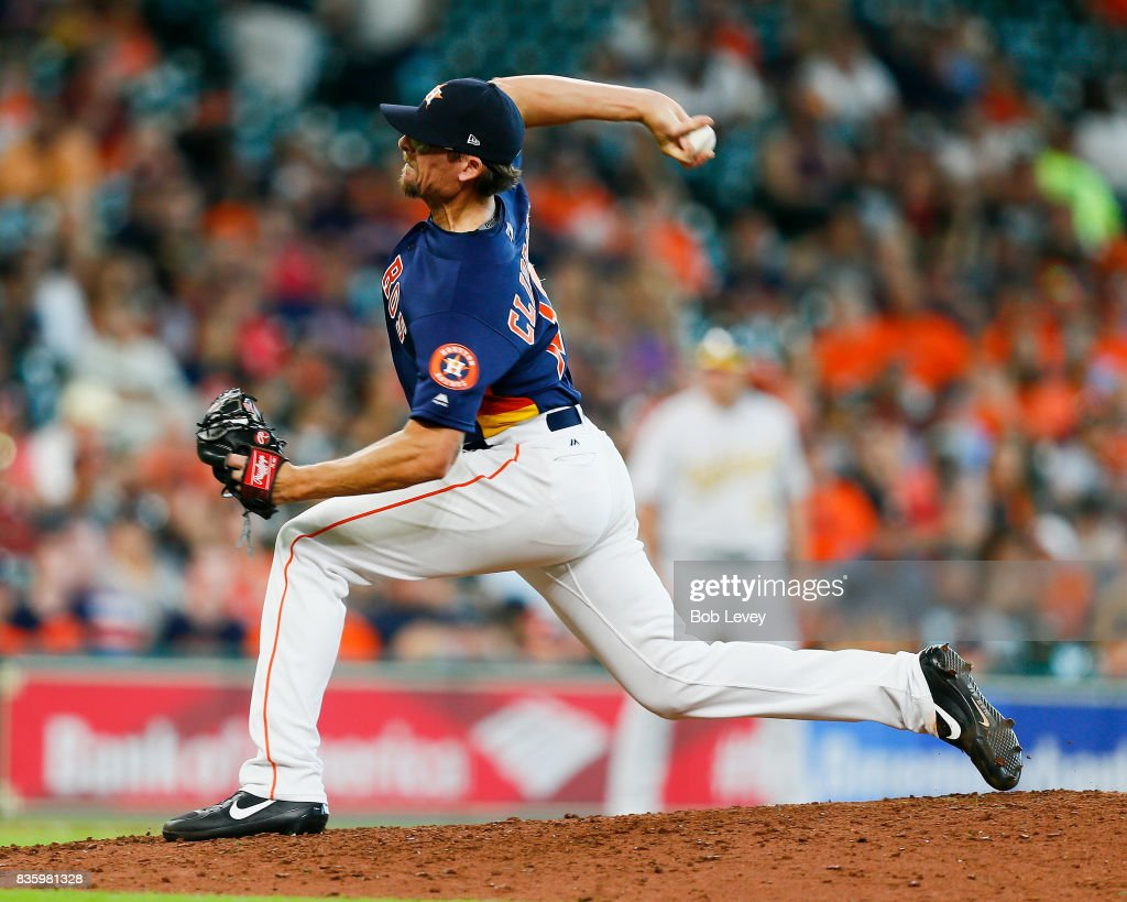 Tyler Clippard #19 of the Houston Astros pitches in the ninth inning against the Oakland Athletics at Minute Maid Park on August 20, 2017 in Houston, Texas.