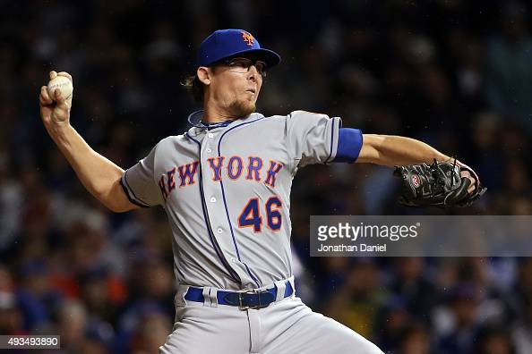 Tyler Clippard of the New York Mets throws a pitch in the eighth inning against the Chicago Cubs during game three of the 2015 MLB National League...