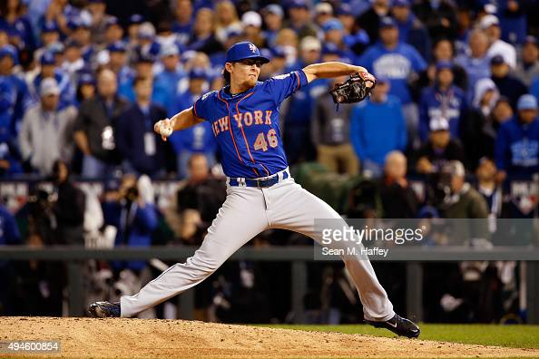 Tyler Clippard of the New York Mets throws a pitch in the eighth inning against the Kansas City Royals during Game One of the 2015 World Series at...