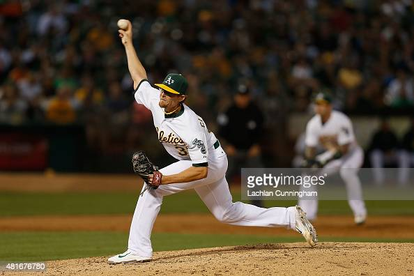Tyler Clippard of the Oakland Athletics pitches in the ninth inning against Minnesota Twins at Oco Coliseum on July 18 2015 in Oakland California