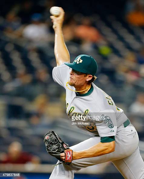 Tyler Clippard of the Oakland Athletics pitches in the tenth inning against the New York Yankees at Yankee Stadium on July 7 2015 in the Bronx...