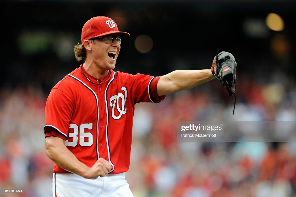 <a gi-track='captionPersonalityLinkClicked' href=/galleries/search?phrase=Tyler+Clippard&family=editorial&specificpeople=4172556 ng-click='$event.stopPropagation()'>Tyler Clippard</a> #36 of the Washington Nationals celebrates after defeating the St. Louis Cardinals 4-3 at Nationals Park on September 2, 2012 in Washington, DC.