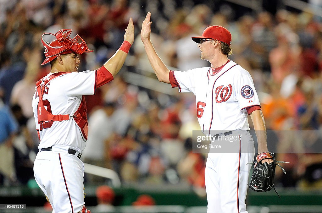 <a gi-track='captionPersonalityLinkClicked' href=/galleries/search?phrase=Tyler+Clippard&family=editorial&specificpeople=4172556 ng-click='$event.stopPropagation()'>Tyler Clippard</a> #36 of the Washington Nationals celebrates with <a gi-track='captionPersonalityLinkClicked' href=/galleries/search?phrase=Wilson+Ramos&family=editorial&specificpeople=4866956 ng-click='$event.stopPropagation()'>Wilson Ramos</a> #40 after a 7-0 victory against the Philadelphia Phillies at Nationals Park on June 3, 2014 in Washington, DC.