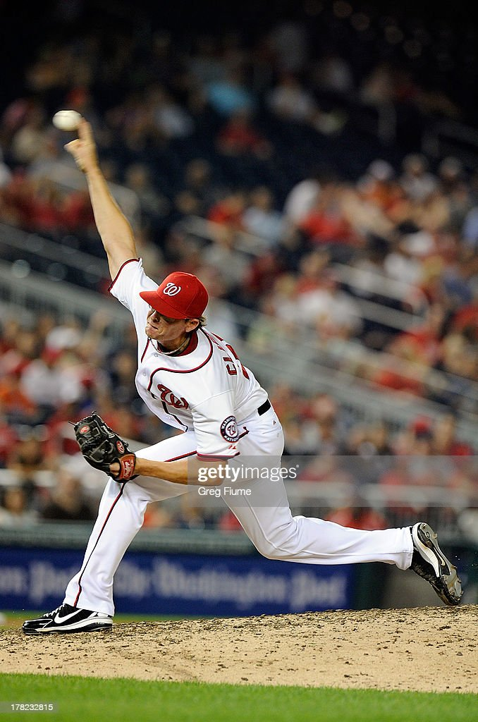 <a gi-track='captionPersonalityLinkClicked' href=/galleries/search?phrase=Tyler+Clippard&family=editorial&specificpeople=4172556 ng-click='$event.stopPropagation()'>Tyler Clippard</a> #36 of the Washington Nationals pitches in the eighth inning against the Miami Marlins at Nationals Park on August 27, 2013 in Washington, DC.