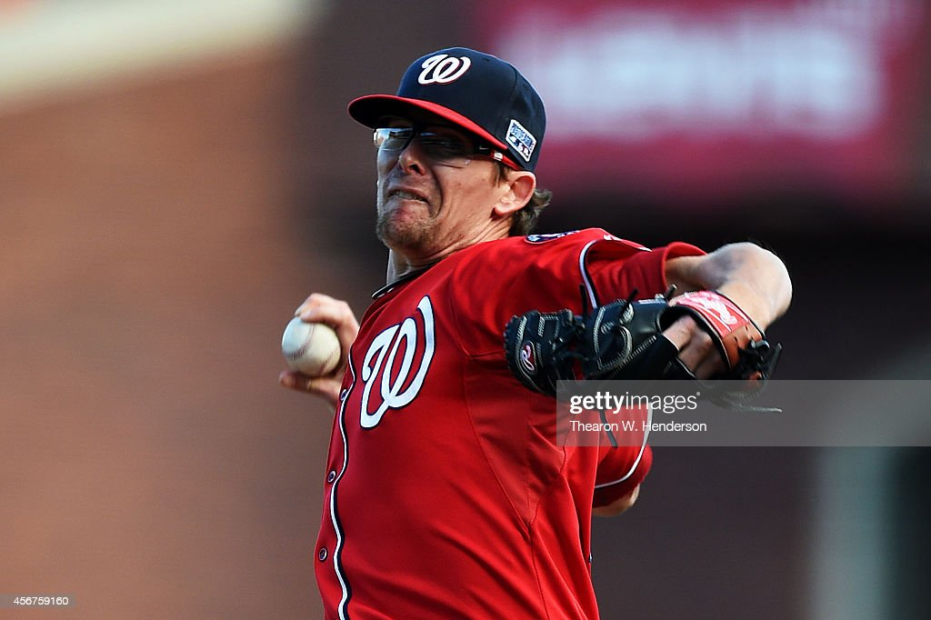 <a gi-track='captionPersonalityLinkClicked' href=/galleries/search?phrase=Tyler+Clippard&family=editorial&specificpeople=4172556 ng-click='$event.stopPropagation()'>Tyler Clippard</a> #36 of the Washington Nationals pitches in the eighth inning against the San Francisco Giants during Game Three of the National League Division Series at AT&T Park on October 6, 2014 in San Francisco, California.