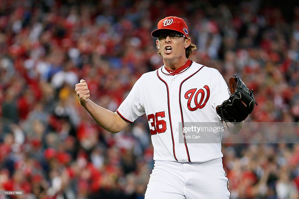Tyler Clippard #36 of the Washington Nationals reacts after he struck out the side to end the top of the eighth inning against the St. Louis Cardinals during Game Four of the National League Division Series at Nationals Park on October 11, 2012 in Washington, DC.