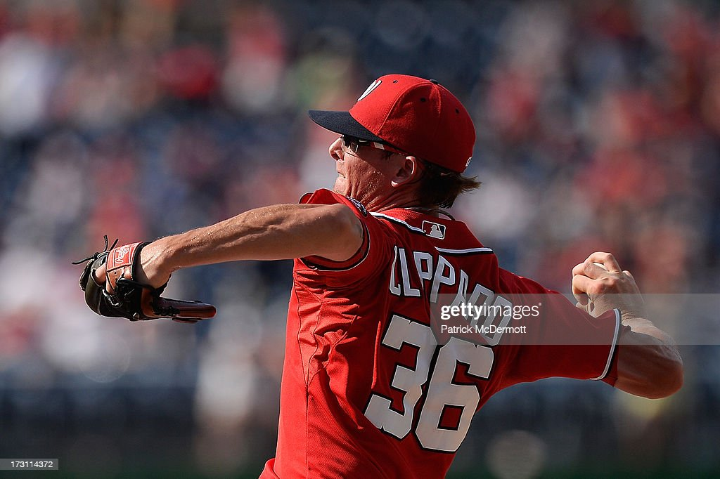 <a gi-track='captionPersonalityLinkClicked' href=/galleries/search?phrase=Tyler+Clippard&family=editorial&specificpeople=4172556 ng-click='$event.stopPropagation()'>Tyler Clippard</a> #36 of the Washington Nationals throws a pitch in the ninth inning of a game against the San Diego Padres at Nationals Park on July 7, 2013 in Washington, DC.