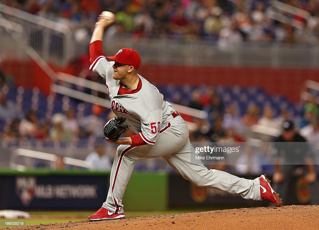 Tyler Cloyd #50 of the Philadelphia Phillies pitches during a game against the Miami Marlins at Marlins Park on May 21, 2013 in Miami, Florida.