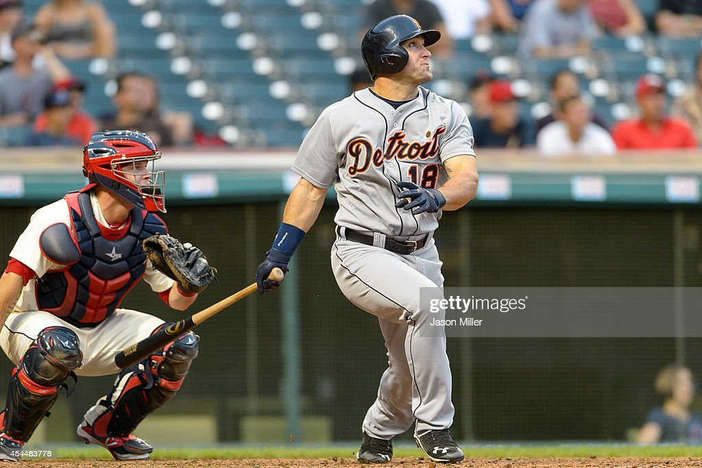 Tyler Collins hits a three run home run during the ninth inning against the Cleveland Indians at Progressive Field on September 1, 2014 in Cleveland, Ohio. The Tigers defeated the Indians 12-1.