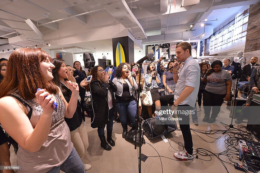 Tyler Cordy of the band 2AM Club performs as Sportiqe and ESPN host a NBA Playoff Party at Bloomingdale's 59th Street Store on April 25, 2013 in New York City.