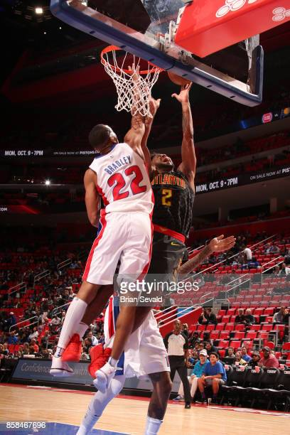 Tyler Dorsey of the Atlanta Hawks goes to the basket against the Detroit Pistons on October 6 2017 at Little Caesars Arena in Detroit Michigan NOTE...