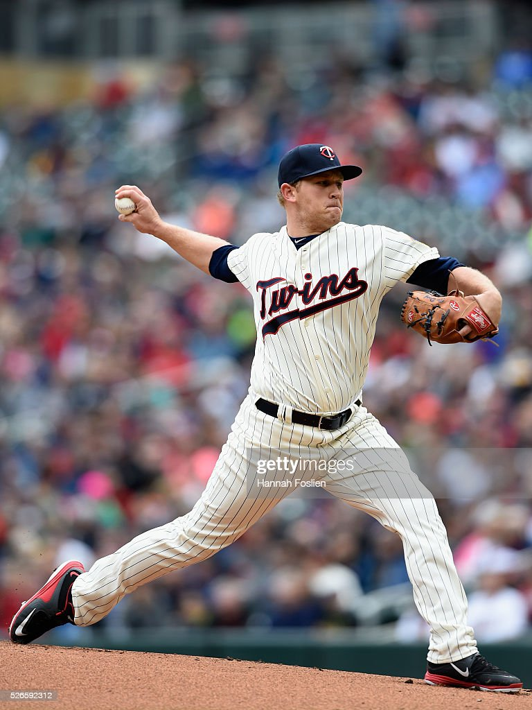 Tyler Duffey #56 of the Minnesota Twins delivers a pitch against the Detroit Tigers during the first inning of the game on April 30, 2016 at Target Field in Minneapolis, Minnesota.
