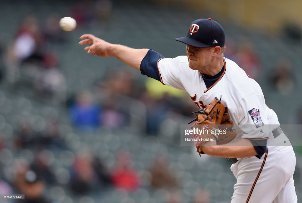 Tyler Duffey #56 of the Minnesota Twins delivers a pitch against the Cleveland Indians during the seventh inning of the game on April 20, 2017 at Target Field in Minneapolis, Minnesota. The Indians defeated the Twins 6-2.